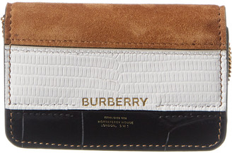 Burberry Detachable Strap Suede & Croc-Embossed Leather Card Case