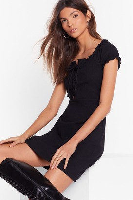 Nasty Gal Womens Black Tied Lace-Up Dress with Square Neckline