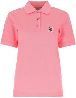 Burberry Deer Motif Pique Oversized Polo Shirt
