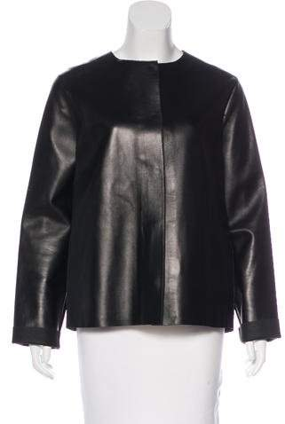 The Row Collarless Leather Jacket