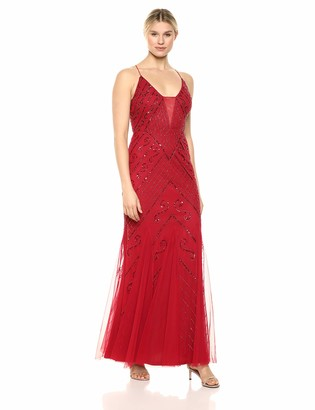 Marina Women's Spaghetti Strap Beaded Gown with Criss Cross Back