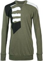 11 By Boris Bidjan Saberi patch paneled long sleeved T-shirt - men - Cotton - L
