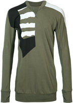 11 By Boris Bidjan Saberi patch paneled long sleeved T-shirt - men - Cotton - M