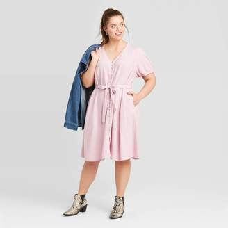 Universal Thread Women's Plus Size Short Sleeve V-Neck Button-Front Tie Waist Dress - Universal ThreadTM Lilac