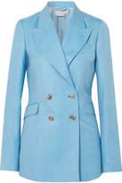 Gabriela Hearst - Angela Double-breasted Wool, Silk And Linen-blend Blazer - Light blue