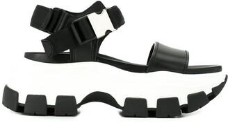 Prada Pegasus Strap Sandals
