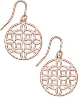 Charter Club Rose Gold-Tone Openwork Circle Drop Earrings, Only at Macy's