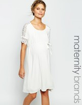 Mama Licious Mama.licious Mamalicious Shift Dress With Lace Detail Sleeves