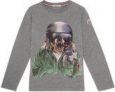 Moncler Winter Bear Jersey Tee, Gray, Size 8-14