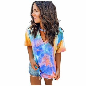 Beetlenew Womens Blouses Women's T-Shirt Fashion Tie-dye Print Choker Tops Sexy Cutout V-Neck Casual Tee Shirts Summer Short Sleeve Color Block Blouse Cut Out Chest Gradient Top Tunic Keyhole Blouses (XXL