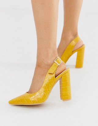 London Rebel pointed slingback heeled shoes in mustard croc