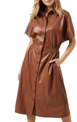 French Connection Faux Leather Midi Dress