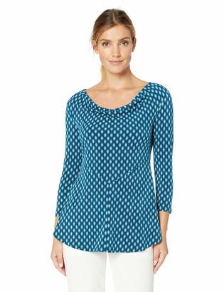 Chaus Women's 3/4 Sleeve Elegant Foulard Drape Neck Top