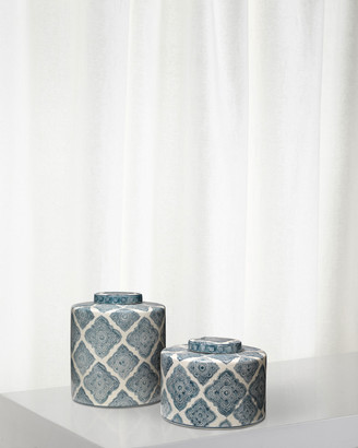 Jamie Young Oran Canisters in Blue and White Ceramic Set of 2