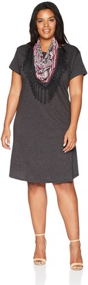 One World ONEWORLD Women's Plus Size Short Sleeve Solid Knee Length Dress with Attached Scarf