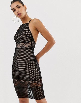 Asos Design ASOS Lace & Mesh Mix Midi Pencil Dress