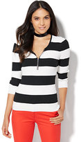 New York & Co. Zip-Front Ribbed Sweater - Stripe