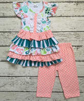 Coral & Teal Flutter-Sleeve Dress & Capri Leggings - Toddler