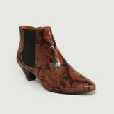 Polder Brown Tiphaine Python Style Leather Boots - leather | brown | 36 - Brown/Brown