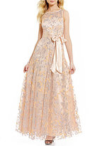 Jessica Howard Metallic Mesh Embroidered A-line Ballgown