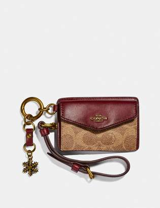 Coach Card And Coin Pouch In Signature Canvas With Snowflake Charm