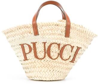 Emilio Pucci Logo Patch Basket Beach Bag