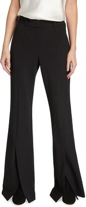 Lafayette 148 New York Roosevelt Luxe Italian Double Face Wool Pants w/ Front Slit
