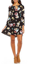 Chelsea & Theodore Floral Crew Bar-Neck Bell Sleeve Swing Dress