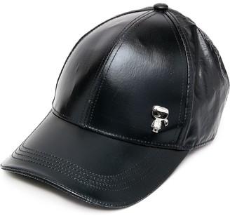 Karl Lagerfeld Paris Faux Leather Logo Plaque Cap