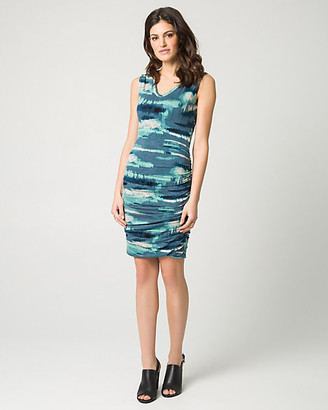 Le Château Abstract Print Jersey V-Neck Dress