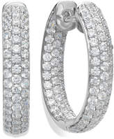 Arabella Sterling Silver Swarovski Zirconia Pave Hoop Earrings (8-1/2 ct. t.w.)