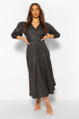 boohoo Polka Dot Puff Sleeve Midaxi Dress