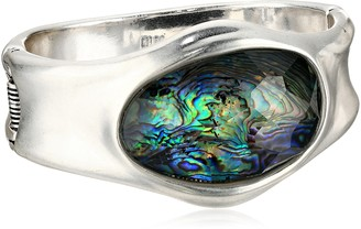 "Robert Lee Morris Armored Architecture"" Abalone Faceted Stone Sculptural Hinged Bangle Bracelet"