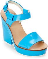 Jil Sander Blue Open Toe Platform Wedge Sandals