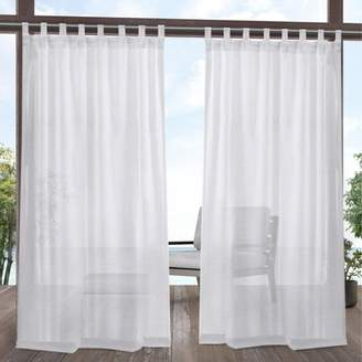 Mid-Century MODERN Exclusive Home Miami Indoor/Outdoor Tab Top Window Curtain Panel Pair White