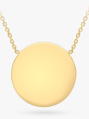 IBB Personalised 9ct Gold Disc Pendant Necklace, Gold