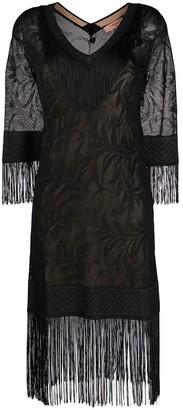 Twin-Set Lace Stitch Fringed Dress