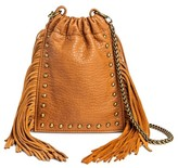 DV Women's Faux Leather Crossbody Handbag with Cinched Closure - Cognac