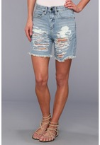 Denim Bermuda With Rips in Denim