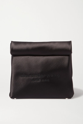 Alexander Wang Lunch Bag Embroidered Satin Clutch - Black