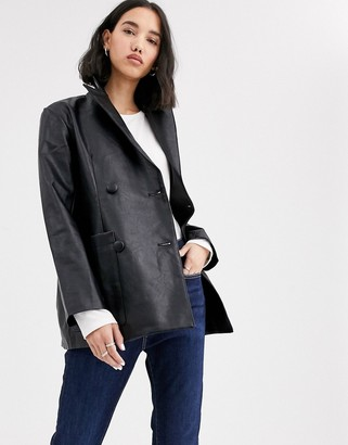 NATIVE YOUTH double breasted blazer in faux leather two-piece-Black