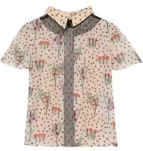 RED Valentino Point D'esprit-paneled Floral-print Silk-blend Chiffon Shirt