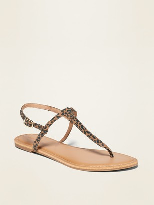 Old Navy Leopard-Print T-Strap Sandals for Women