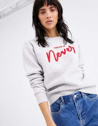 Ichi slogan sweatshirt-Grey