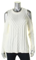 Vince Camuto Womens Petites Cold Shoulder Cable Knit Pullover Sweater