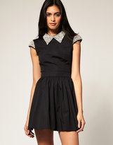 ASOS Dress with Embellished Collar Skater