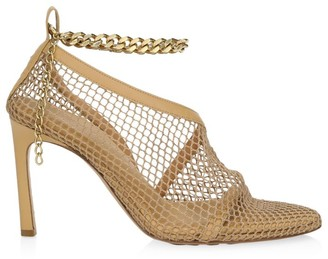Bottega Veneta Mesh Chain Leather Ankle-Strap Sandals