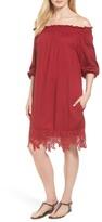 Halogen R) Lace Hem Off the Shoulder Shift Dress (Regular & Petite)
