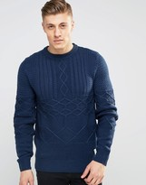 Bellfield Mixed Cable Knitted Sweater