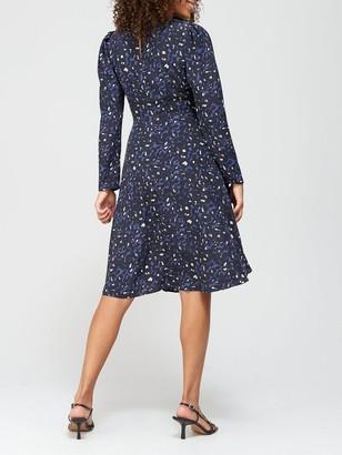 Very Round Neck Puff Sleeve Midi Dress - Animal Print